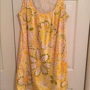 J. Crew retro looking yellow printed dress